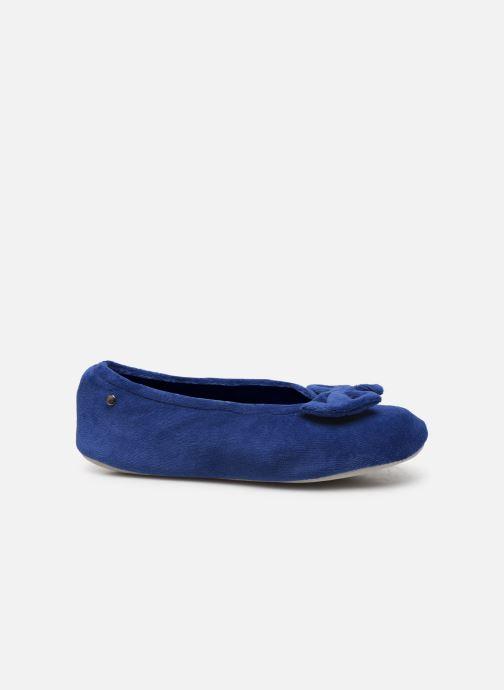 Chaussons Isotoner Ballerine velours bio grand nœud Bleu vue derrière