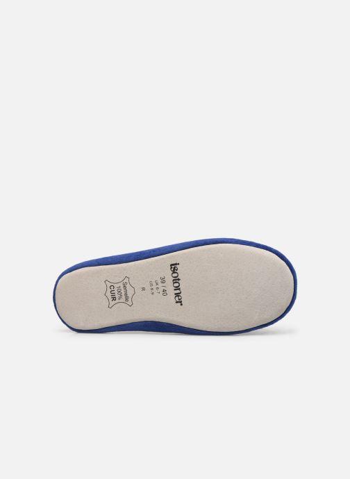 Pantoffels Isotoner Ballerine velours bio grand nœud Blauw boven