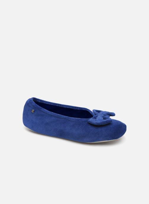Chaussons Isotoner Ballerine velours bio grand nœud Bleu vue détail/paire