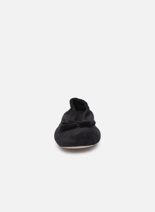 Hausschuhe Isotoner Ballerine velours bio grand nœud schwarz schuhe getragen
