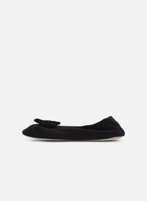 Slippers Isotoner Ballerine velours bio grand nœud Black front view