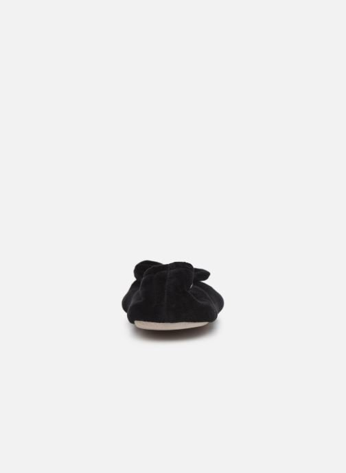 Slippers Isotoner Ballerine velours bio grand nœud Black view from the right