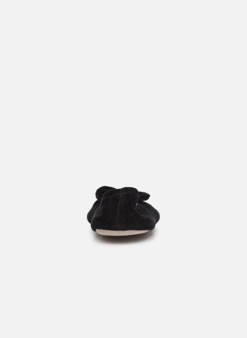 Pantuflas Isotoner Ballerine velours bio grand nœud Negro vista lateral derecha
