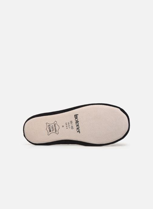 Slippers Isotoner Ballerine velours bio grand nœud Black view from above