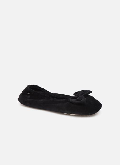 Chaussons Isotoner Ballerine velours bio grand nœud Noir vue détail/paire
