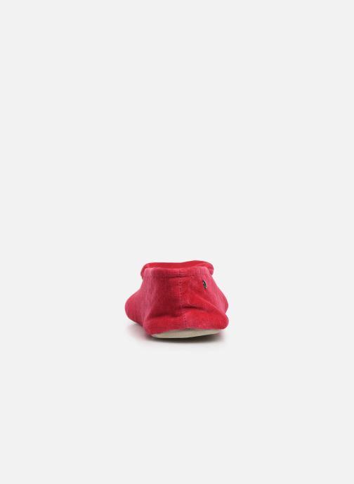 Chaussons Isotoner Ballerine velours bio grand nœud Rouge vue droite