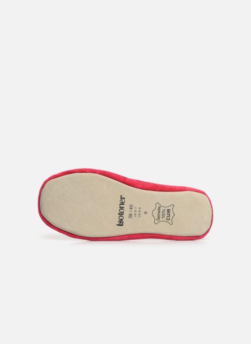 Pantoffels Isotoner Ballerine velours bio grand nœud Rood boven