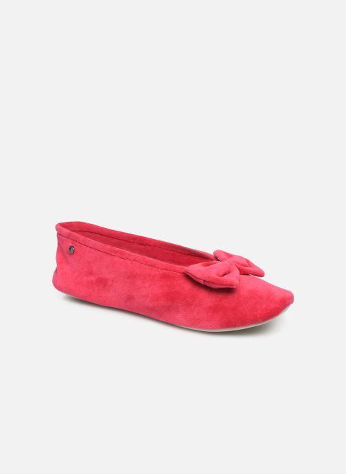 Chaussons Isotoner Ballerine velours bio grand nœud Rouge vue détail/paire
