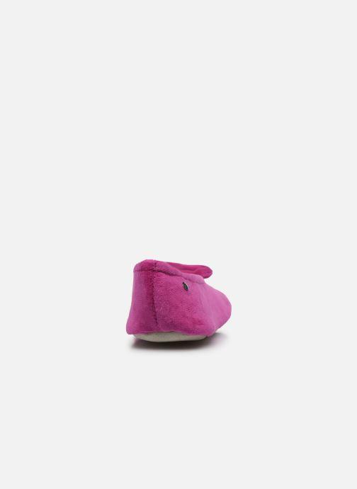 Pantofole Isotoner Ballerine velours bio grand nœud Rosa immagine destra