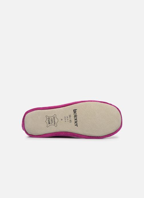 Pantofole Isotoner Ballerine velours bio grand nœud Rosa immagine dall'alto