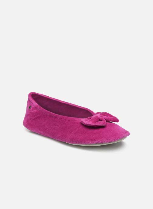 Pantuflas Isotoner Ballerine velours bio grand nœud Rosa vista de detalle / par