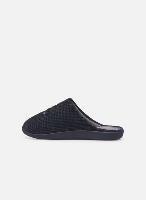 Pantofole Isotoner Mule velours broderie semelle ergonomique Azzurro immagine frontale