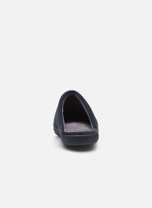Hausschuhe Isotoner Mule velours broderie semelle ergonomique blau ansicht von rechts