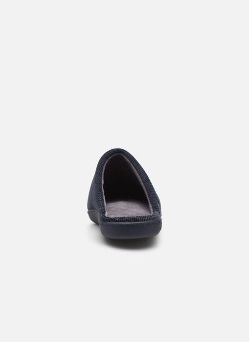 Pantofole Isotoner Mule velours broderie semelle ergonomique Azzurro immagine destra