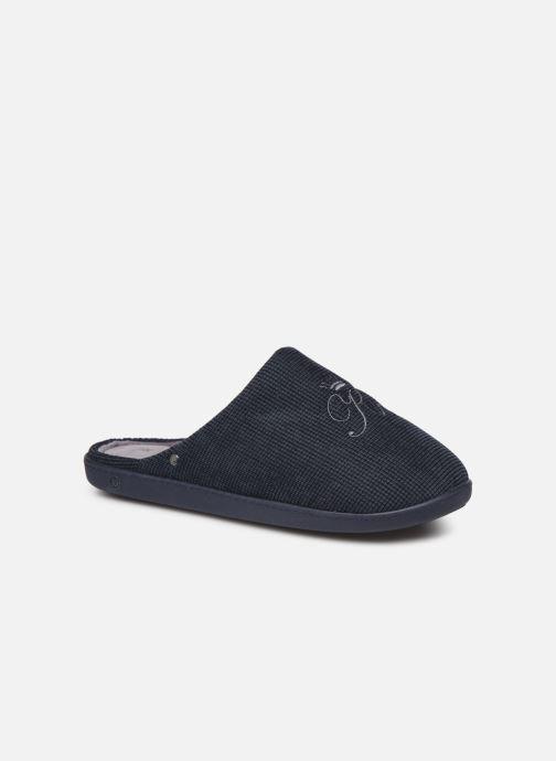 Chaussons Isotoner Mule velours broderie semelle ergonomique Bleu vue détail/paire