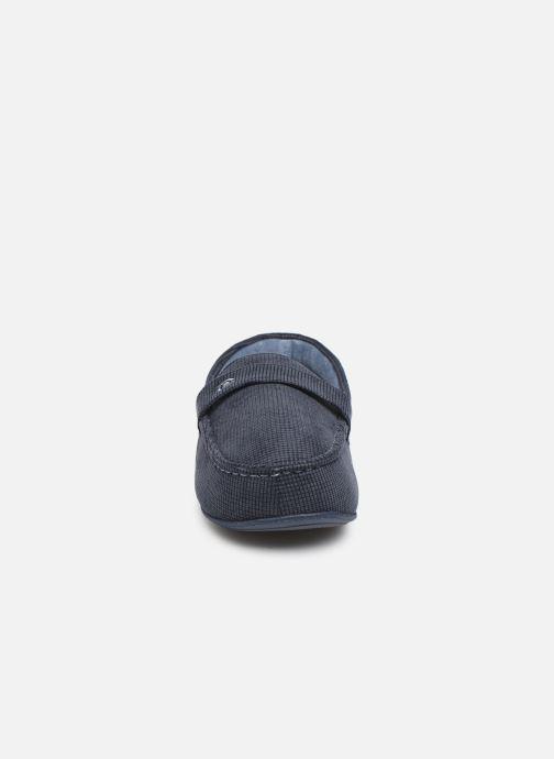 Hausschuhe Isotoner Mocassin surpiqures blau schuhe getragen