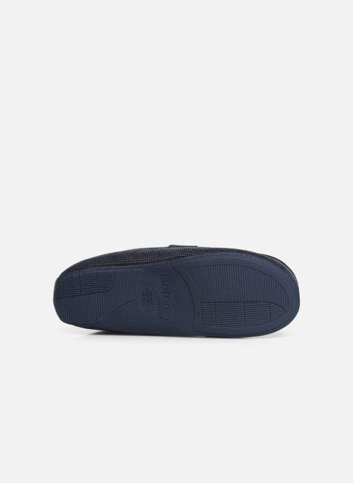 Hausschuhe Isotoner Mocassin surpiqures blau ansicht von oben