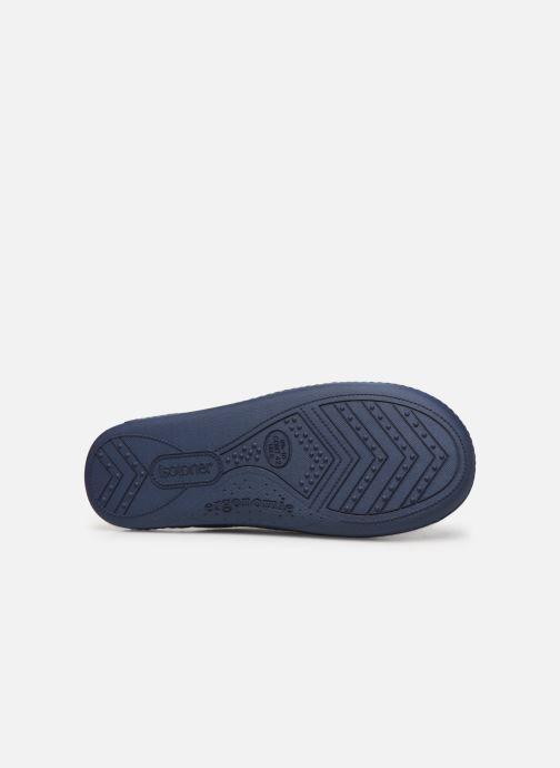 Chaussons Isotoner Mule velours semelle ergonomique M Bleu vue haut