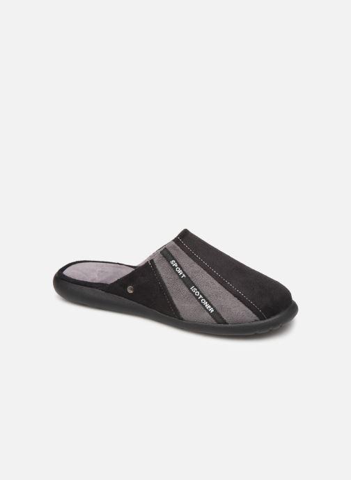 Chaussons Isotoner Mule suédine semelle ergonomique Xtra flex Noir vue détail/paire