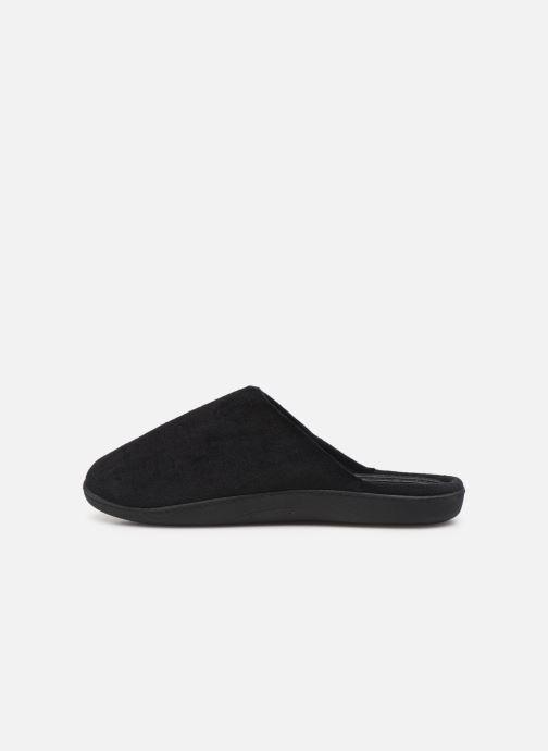 Slippers Isotoner Mule velours semelle ergonomique 2 Black front view