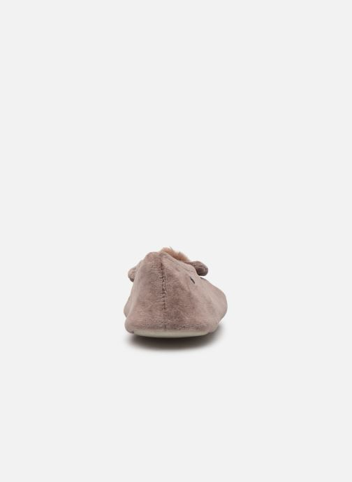 Slippers Isotoner Ballerine velours bio grand nœud et pompon Beige view from the right