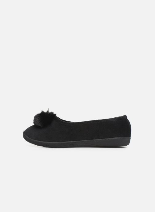 Slippers Isotoner Ballerine velours pompon semelle ergonomique Black front view