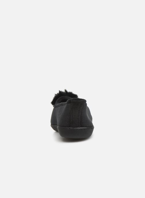 Slippers Isotoner Ballerine velours pompon semelle ergonomique Black view from the right