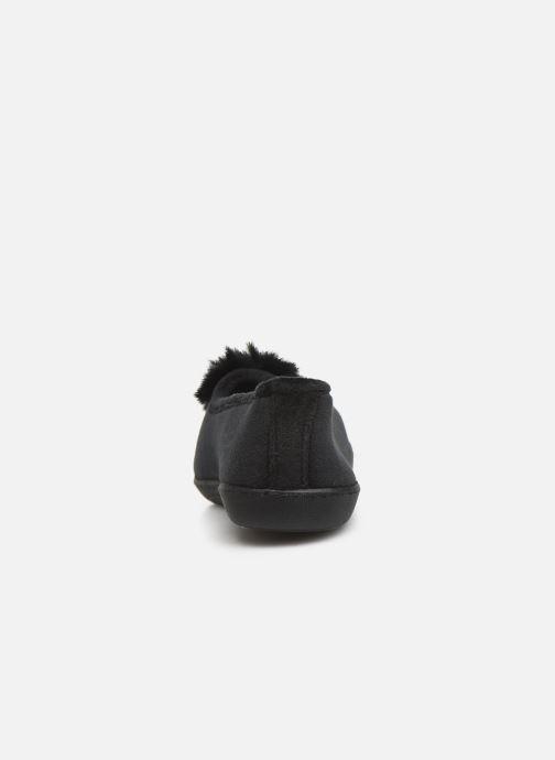 Chaussons Isotoner Ballerine velours pompon semelle ergonomique Noir vue droite