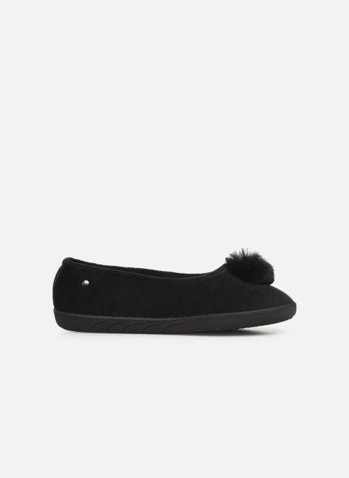 Slippers Isotoner Ballerine velours pompon semelle ergonomique Black back view