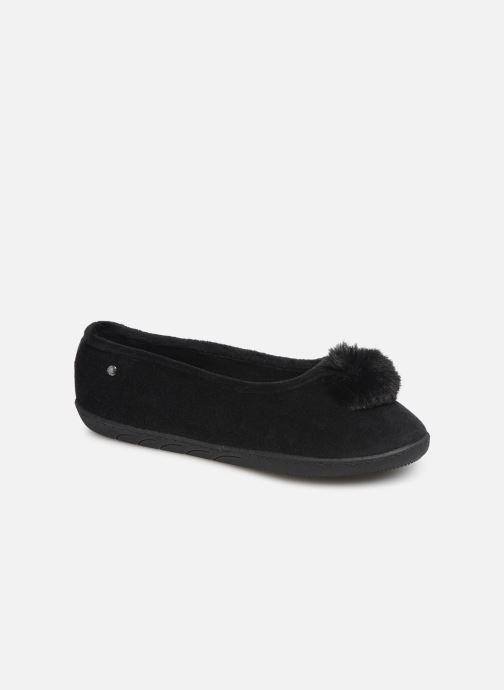 Chaussons Isotoner Ballerine velours pompon semelle ergonomique Noir vue détail/paire