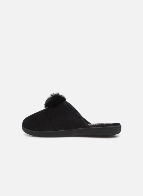 Pantoffels Isotoner Mule velours pompon semelle ergonomique Zwart voorkant