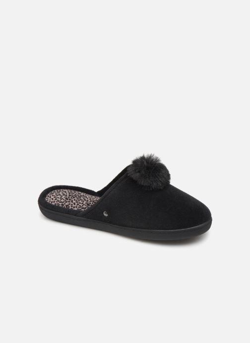 Pantoffels Isotoner Mule velours pompon semelle ergonomique Zwart detail