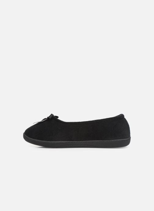 Slippers Isotoner Ballerine velours semelle ergonomique 2 Black front view