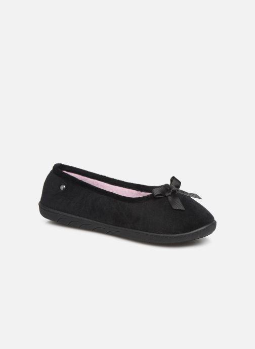 Slippers Isotoner Ballerine velours semelle ergonomique 2 Black detailed view/ Pair view