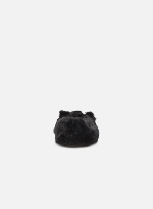 Slippers Isotoner Ballerine fourrure chat Black view from the right
