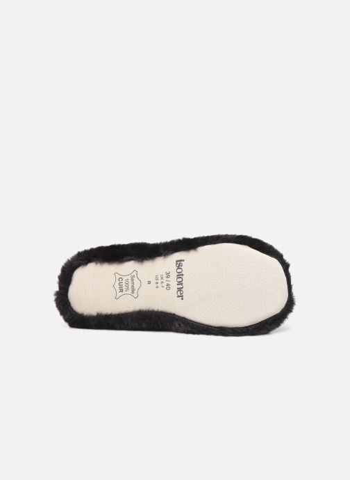 Slippers Isotoner Ballerine fourrure chat Black view from above