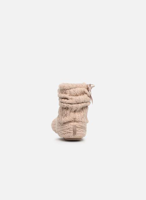 Chaussons Isotoner Botillon tricot et nœud Beige vue droite