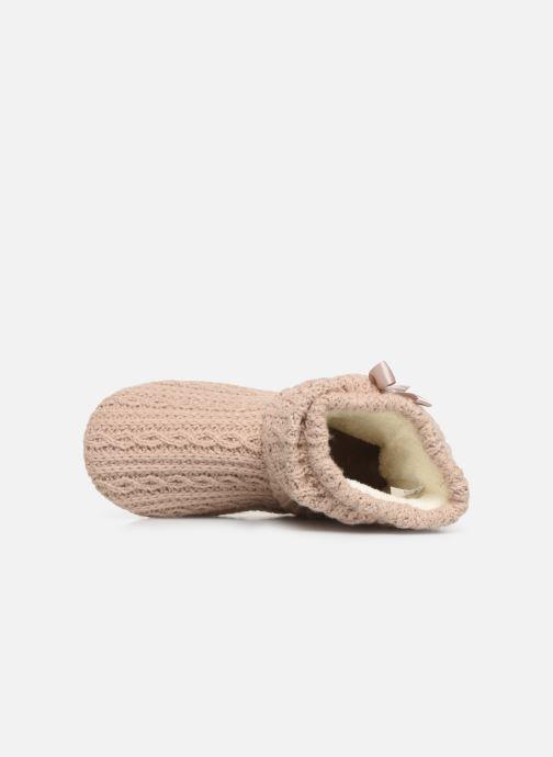 Chaussons Isotoner Botillon tricot et nœud Beige vue gauche