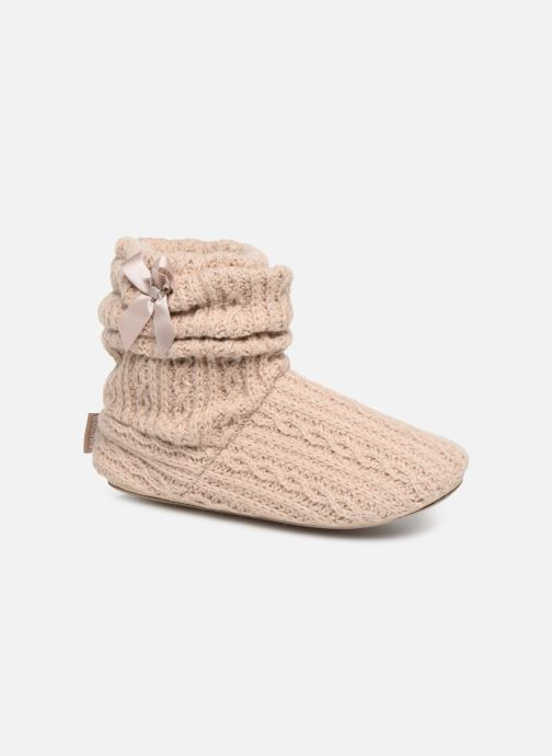 Slippers Isotoner Botillon tricot et nœud Beige detailed view/ Pair view