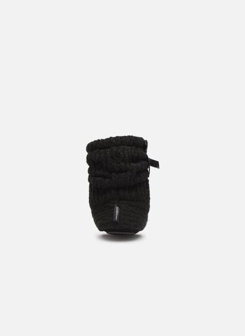Chaussons Isotoner Botillon tricot et nœud Noir vue droite