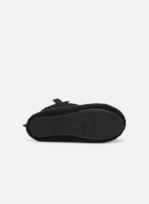 Slippers Isotoner Botillon tricot et nœud Black view from above