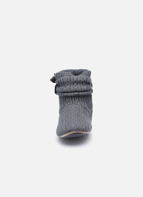Pantuflas Isotoner Botillon tricot et nœud Gris vista del modelo