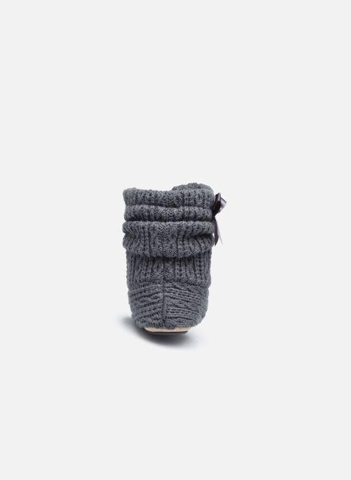 Pantuflas Isotoner Botillon tricot et nœud Gris vista lateral derecha