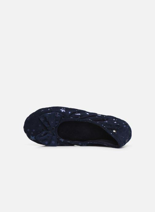 Chaussons Isotoner Ballerine suédine étoiles Bleu vue gauche