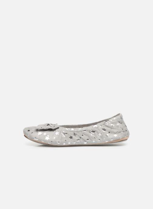 Slippers Isotoner Ballerine suédine étoiles Grey front view