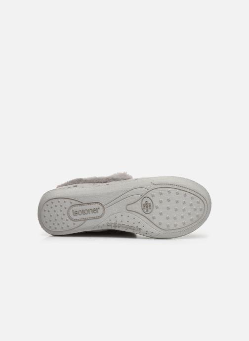 Pantoffels Isotoner Charentaise suédine étoiles semelle ergonomique Grijs boven