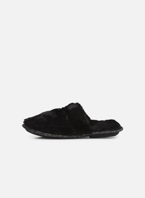 Slippers Isotoner Mule plate fourrure Black front view