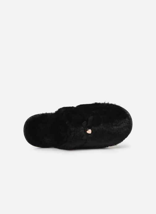 Chaussons Isotoner Mule plate fourrure Noir vue gauche