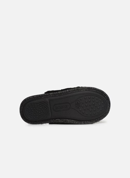Pantoffels Isotoner Mule plate fourrure Zwart boven
