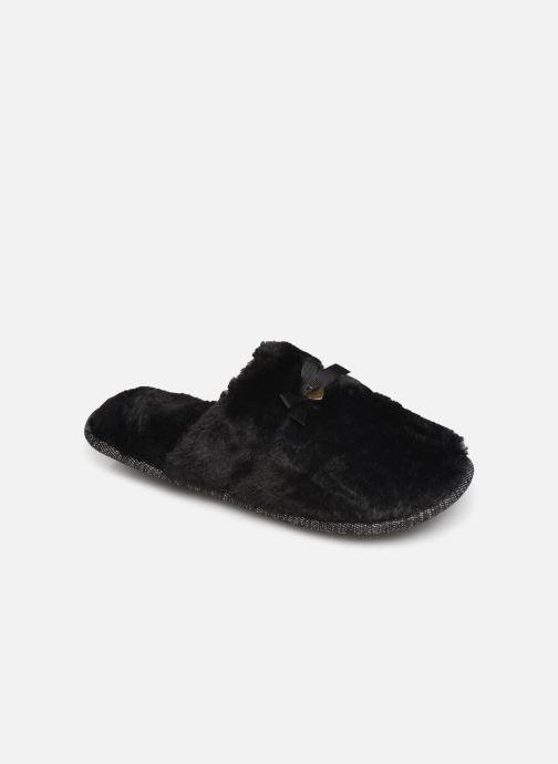 Pantoffels Isotoner Mule plate fourrure Zwart detail